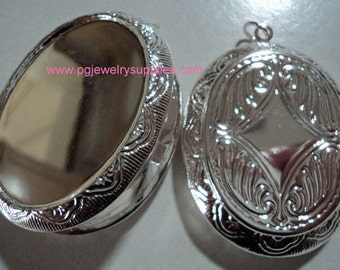 Silver tone 40x30 locket setting for jewelry making