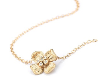 Gold Flower Necklace - Diamond Flower Necklace - Flower Necklace Gold - Flower Necklace - Gold Flower - Diamond Flower - Gold Necklace