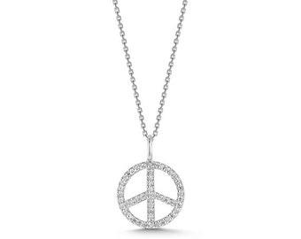 Diamond Peace Necklace - White Gold Peace Necklace - Peace Necklace With Handset Diamonds - Delicate Peace Necklace - Peace Sign Necklace