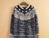 Geometric Sweater - Fair Isle Pattern Jumper Sweater - Mens Irish Knit Wool Jumper Sweater - Womens Oversized Sweater Jumper