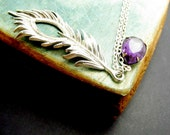 Rhinestone Feather Necklace, Antique Silver Feather Necklace, Purple Rhinestone, Silver Chain - BBbonte