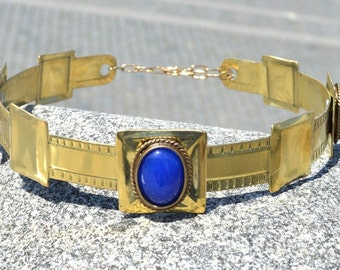 ARTHUR MEDIEVAL CROWN King Nobleman with stones Blue Agate