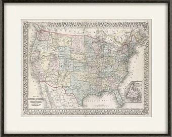 USA Map Print American Map Vintage Map Print Old Map Antique - Usa large wall map