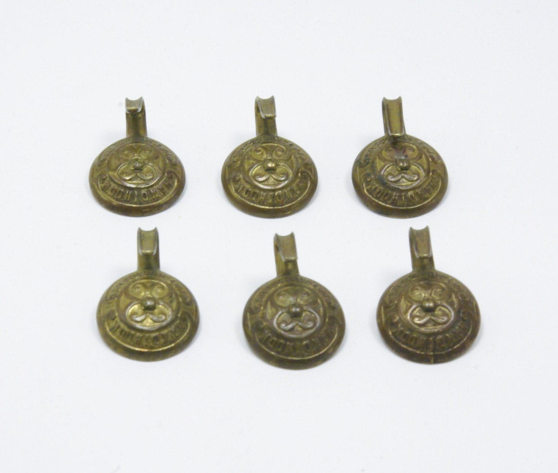 Antique Stamped Decorative Brass Coat Hook HANDIHOOK Domed