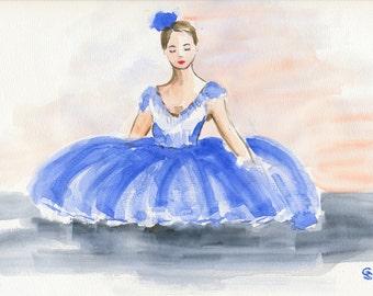 Watercolor Art Print 8x10 of an original watercolor Ballerina Dancer Ballet