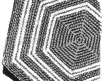 Crochet 5245 Hexagon Rug Pattern PDF Vintage Newspaper Mail Away Throw Rug