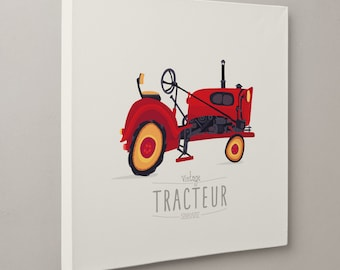 TABLE ART * Illustration vintage tractor by SEVEUSMZ. Table 20x20 cm or 40x40 cm.