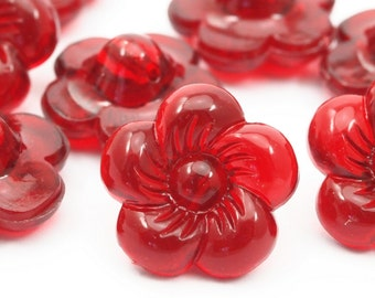 10 psc 18 mm Red  Flower Plastic Beads  , Vintage German Beads , Findings , Lucite Beads  - bk494-1