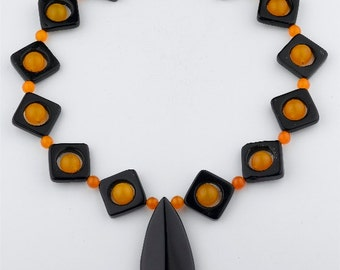 Black Onyx and Jade Statement Necklace
