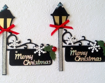 2 Handmade Vintage Victorian Merry Christmas Lamp Post Card Toppers with Signs for Scrapbooking Craft Project Ready to use