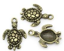 10 Bronze Sea Turtle Charms Tortoise Pendants Ocean Creature 4315