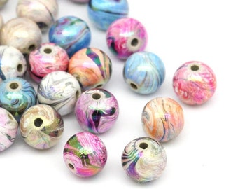 20 Acrylic Swirl Beads Mix Colors Spacer Bead 8mm 4394