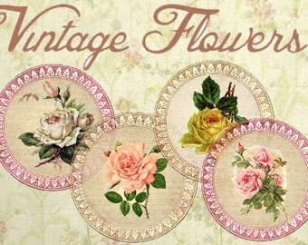 Vintage Flowers  2 Inch Circles digital collage sheet