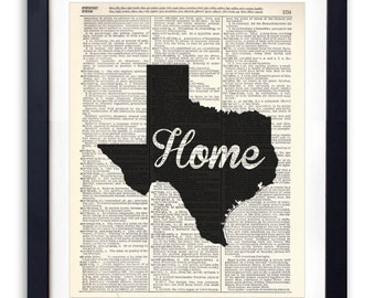 Texas Home Script Upcycled Dictionary Art Print Repurposed Book Print Recycled Antique Dictionary Page - Buy 2 Get 1 FREE
