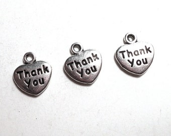3 Thank You Heart Tags, 12mm, Antique Silver Thank you Charms for Jewlery Making, Silver Charm SC0036