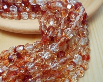 6mm Diamonds and Rust Firepolish Hurricane Czech Beads, Red and White Beads, Rust Colored Beads, Rustic Chic Beads, D-B07