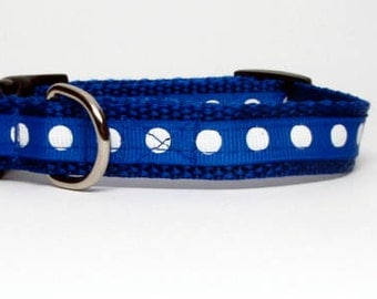 Blue and White Polka Dot Quick Release Dog Collar Extra Small
