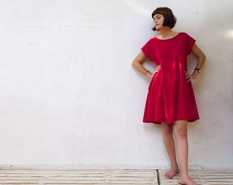 Women's Oversized Dress Red Dress With Pockets Women's Clothing Organic cotton  Circle Dress