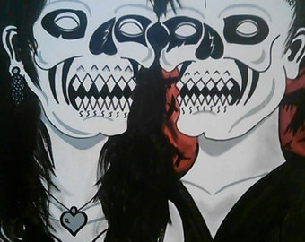 Painting 16x20 Dead Lovers Gothic Acrylic/Oil on Stretched Canvas