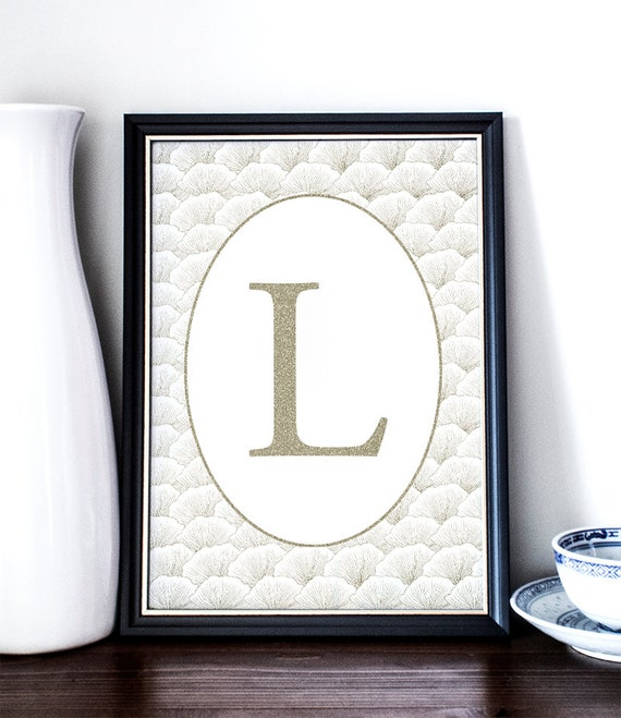 L letter monogram initial printable art by printablerandoms - Initial letter wall decor ...