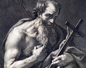 St. Jerome by J. Fussell circa 1870s Original Vintage Steel Engraving Religious Scene 140+ Years Old! Original