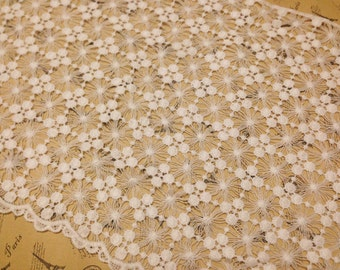 White Lace Fabric Crocheted Gown Fabric Hollowed Out snow flower lace fabric Floral Lace Fabrics Retro Venice Lace Supplies