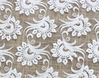 Ivory Lace Fabric, Ivory Gauze Lace Fabric, Wedding Veil, Bridal Lace, Floral Lace Fabric, Fabric by Yard