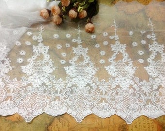 DIY Lace ribbon online store flower embroidered ribbon DIY material 23cm lace belt white trim organza lace for wedding