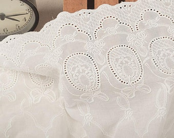 11inch Floral Cotton ivory Lace Trim,Cotton Lace Fabric in off White, Retro Hollowed Flower Lace Embroidery Fabric Lace- Fabric by yard