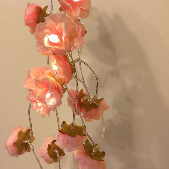 Pink String Lights For Bedroom : Wild Rose Garland Fairy Lights in Coral Peachy Pink Bedroom