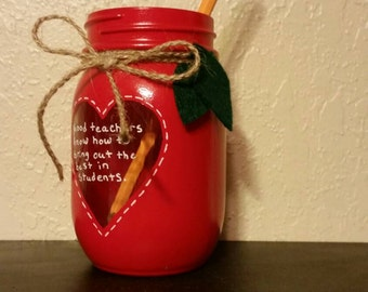 Apple red mason jar, teacher mason jar, pencil holder, teacher gift