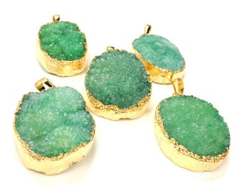 Sparkle Green Agate Druzy Druzzy Drusy Pendant Edged in 24k Gold