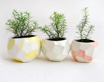 Set of Three Faceted Ceramic Planters, Ceramic Pots, Decorated in Green, Red and Yellow. Listo Para Enviar