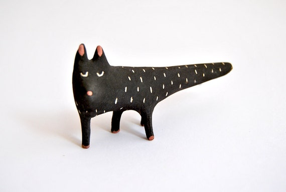 ceramic black halloween cat
