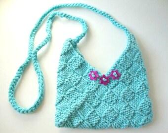 Turquoise Hand Knit Cross Body Bag - Women's Handbag - Teen Handbag - Vegan Handbag - Knit Cross Body Bag - Cotton Handbag -Turquoise Purse