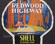 Shell Gasoline 1920s Travel Decal Magnet for REDWOOD HIGHWAY. Accurate reproduction & hand cut in shape as designed. Nice Travel Decal Art