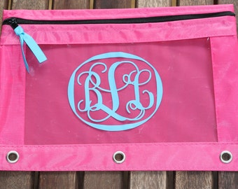 Personalized Monogram  Pencil Case Pouch Back to School  Monogram Script Initials