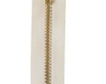 "BZ4516NA - YKK Zipper #4.5 Brass Non-Separating Slipcover/Pillow 16"" - Natural"