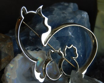 Vintage Sterling Silver Kitty Feline Mama Cat and Two Kittens Brooch