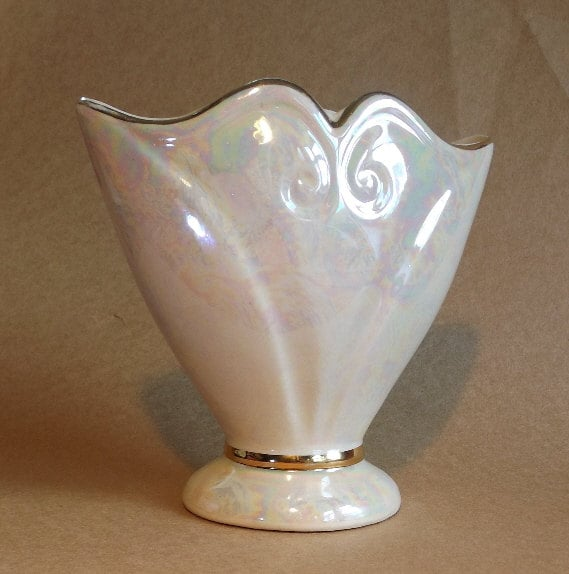 Antique Ceramic Art Deco Vase Irredescent Glaze Gold Trim