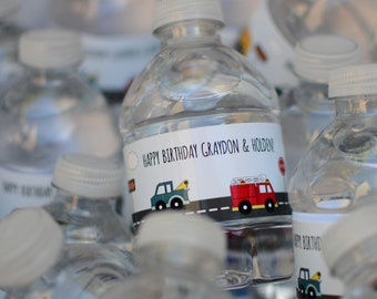 Big Trucks Water Bottle Labels {Digital Item}