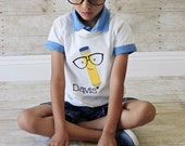 Pencil with large glasses personalized with name Back to school BTS shirt - Sizes 18m - 10