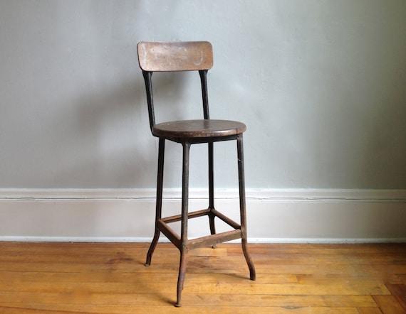 vintage industrial bar stool by hejahome on etsy. Black Bedroom Furniture Sets. Home Design Ideas