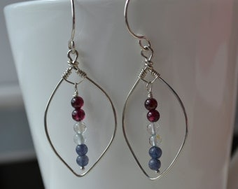 Sterling Leaf with Garnet, Aquamarine and Amethyst  Earrings Handmade Wire Wrapped