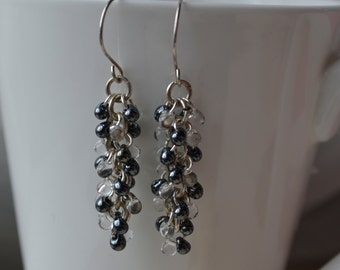Shaggy Black and White Glass Bead Earrings Handmade