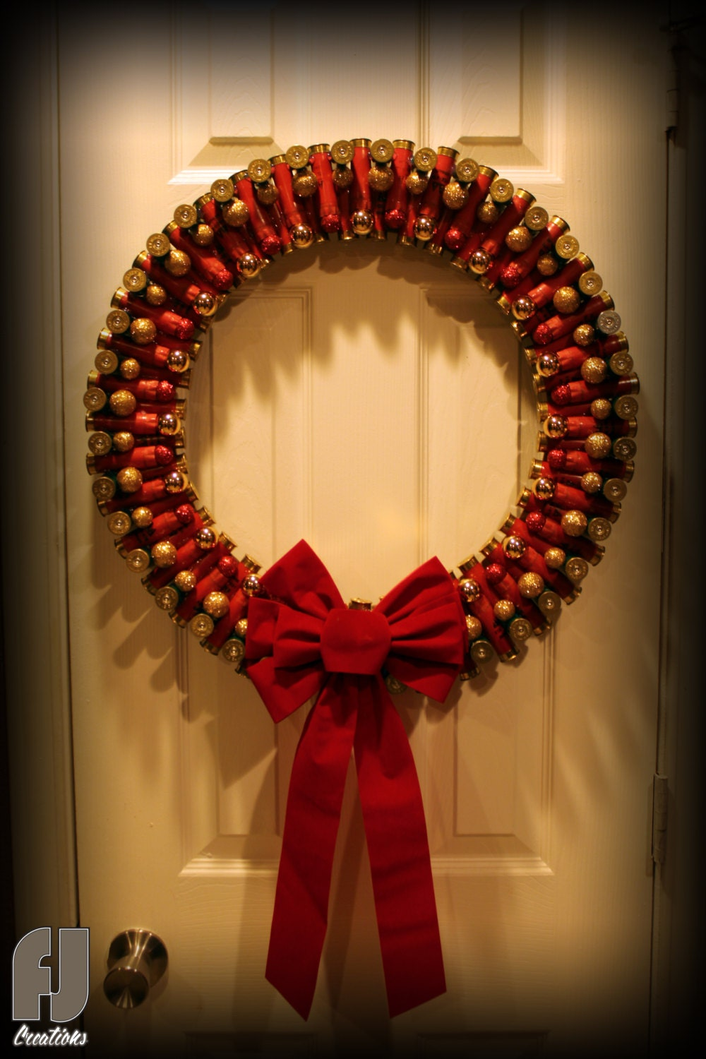 Shotgun shell christmas wreath red green shells for Craft wreaths for sale