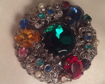 Vintage Brooch Pin Multi colored stones 1950's