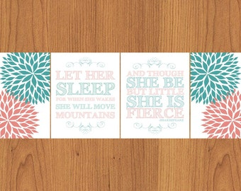 Let Her Sleep For When She Wakes She Will Move Mountains Teal Coral 8x10 Floral Bloom Flowers Nursery Wall Art Set of 4 (58-2)