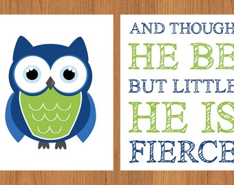 Owl Nursery And Though He Be But Little He Is Fierce Nursery Wall Art Lime Green Navy Blue Owl set of 2 (179)
