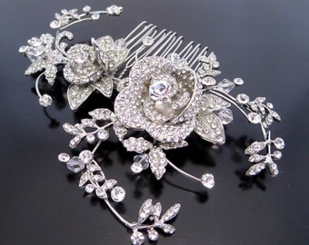 Bridal rhinestone hair comb, Bridal hair vine, Wedding hair accessory, Rhinestone flower hair comb